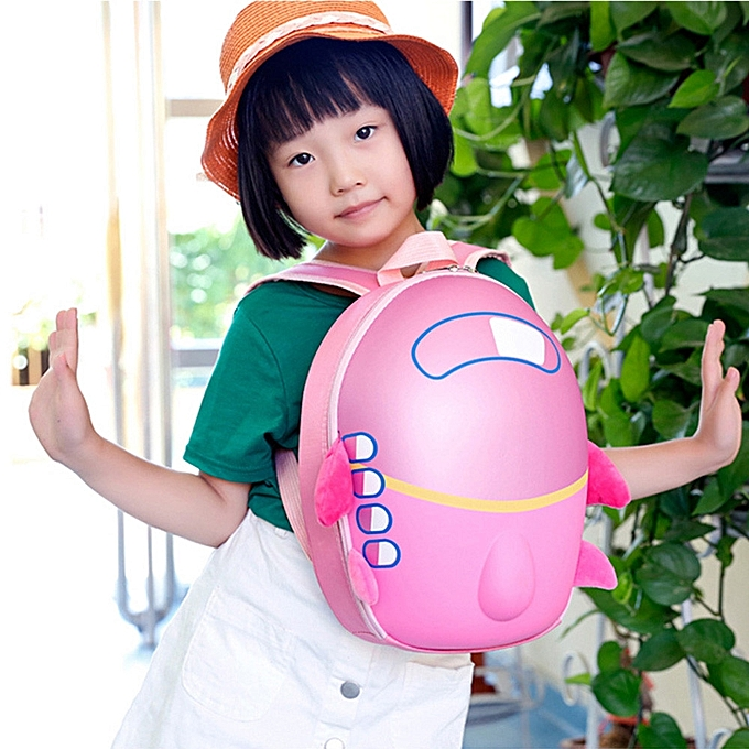 nouveauorldline   Girls garçons Enfants Cute Airplane voituretoon Eggshell sac à dos Toddler School sac -rose à prix pas cher
