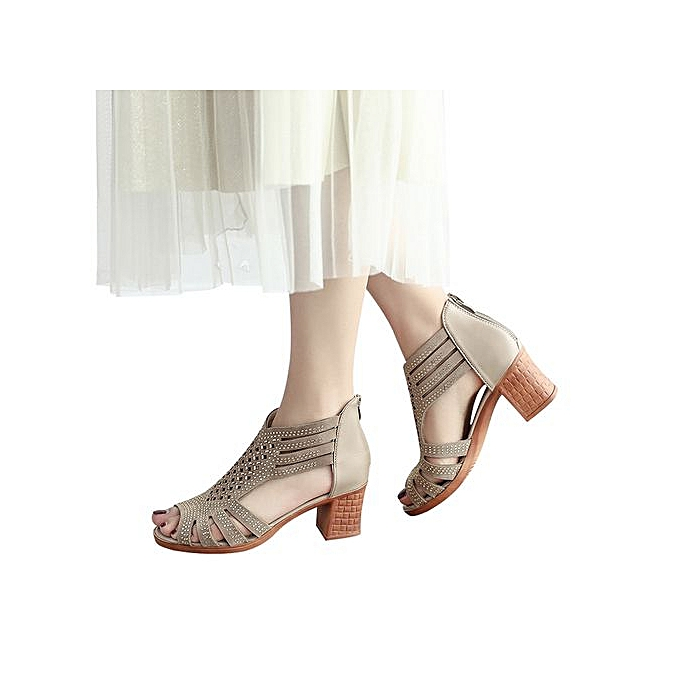 mode mode femmes Crystal HolFaible Wedges Sandals Out Peep Toe High Heeled chaussures-or à prix pas cher