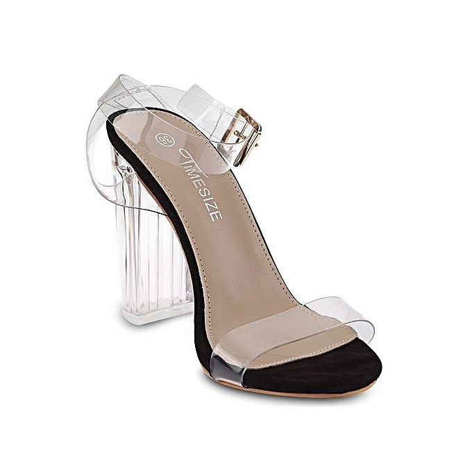 Fashion Sexy Sexy Fashion   Thick Heel Sandals Open Toe Transparent Tape Shoes-BLACK à prix pas cher  | Jumia Maroc 282cfc
