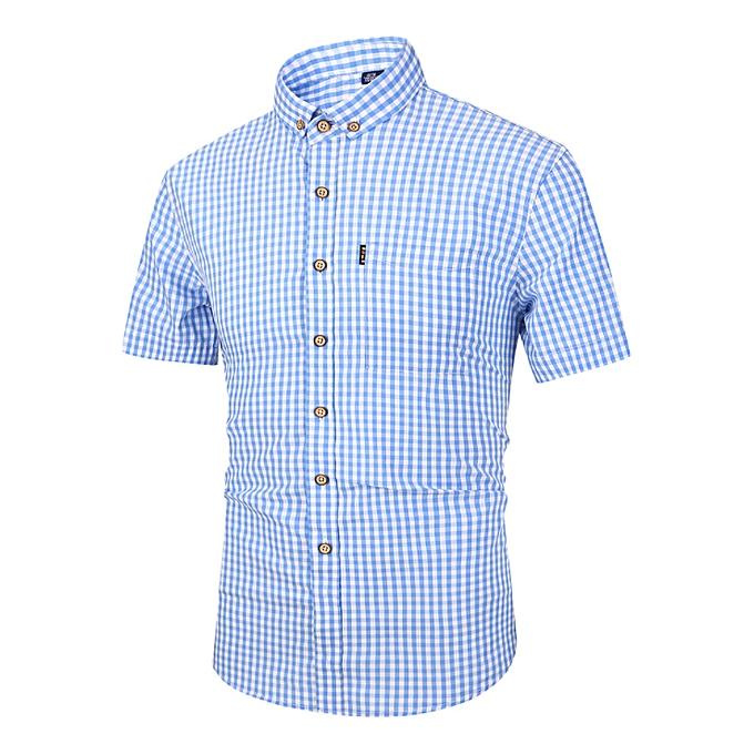 mode Hommes& 039;s shirt Ins super fire 2019 nouveau Korean Décontracté courte-sleeved shirt male Slim petit plaid shirt grand Taille-lumière bleu à prix pas cher