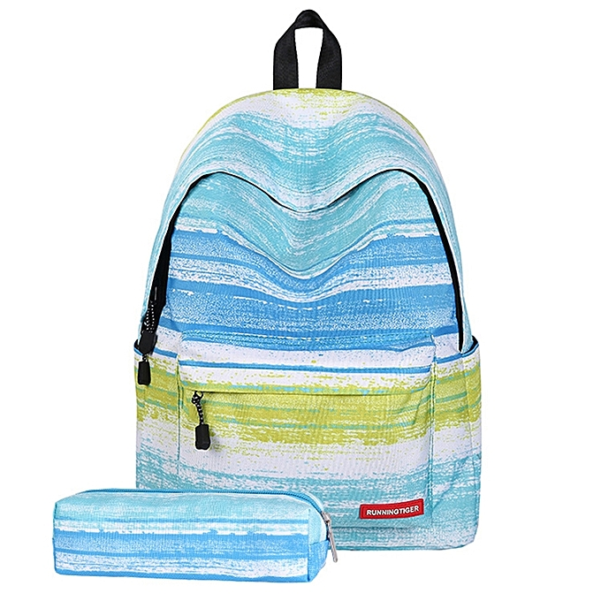 UNIVERSAL vert Stripe Pattern Print Travel Backpack School Shoulders Bag with Pen Bag for Girls, Taille  40cm x 30cm x 17cm à prix pas cher