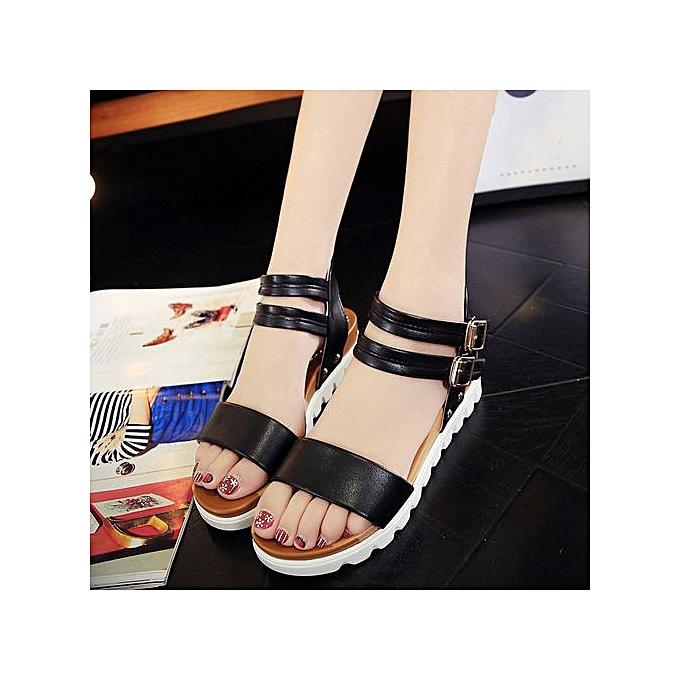 mode Hiamok_mode femmes Simple Sandals cuir Flat Sandals Ladies chaussures noir 39 à prix pas cher