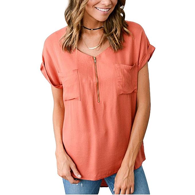 Other New Stylish femme Elegant Causal Linen Zipper Pocket Short Sleeve Loose Shirt-Orange à prix pas cher
