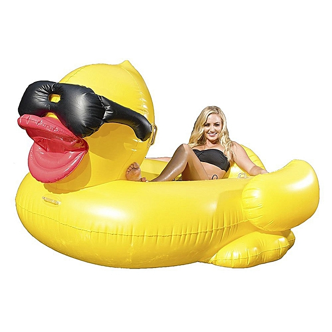 UNIVERSAL Inflatable Sunglasses Wearing Derby Duck Shaped Floating Mat Swimming Ring, Inflated Taille  225 x 170 x 110cm à prix pas cher