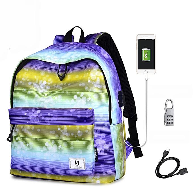 mode Tcetoctre mode Fresh Print School Shoulder sacs sac à dos voyage sac à dos with USB-MultiCouleur à prix pas cher