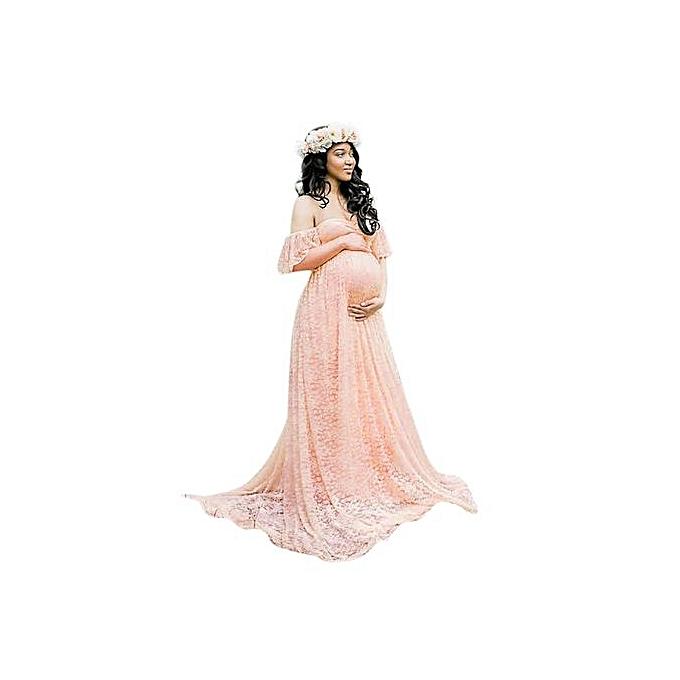 Fashion Tectores Pregnant femmes Off Shoulder Lace Long Maxi Dress Gown Maternity Photography Prop à prix pas cher