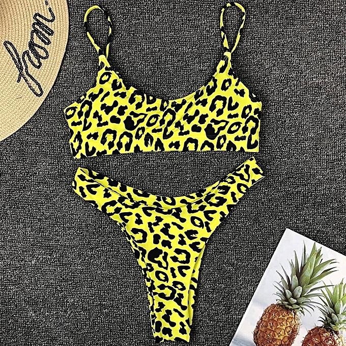 Autre leopard swimwear femmes swimsuit brazilian thong bikini 2019 bathing suit femmes high waist bikinis push up swimming suit biquini(14st) à prix pas cher
