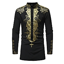 4dd804eb76d9e African Style Printing Long Sleeved Shirt for Men