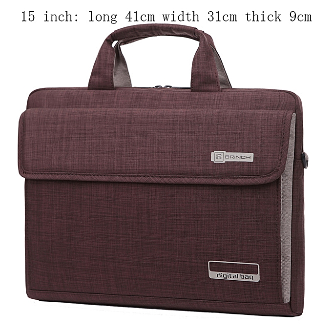 Other NEW  6 Couleurs Big Capacity Nylon 13.3 14 15.6 Inch Laptop Bag Briefcases Prougeective Case Cover Bags B(15inch marron) à prix pas cher