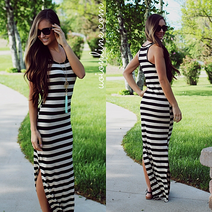 OEM new New noir And blanc Stripes Spell Receive Waist Slim Fashion Sexy Long Dress-blanc à prix pas cher