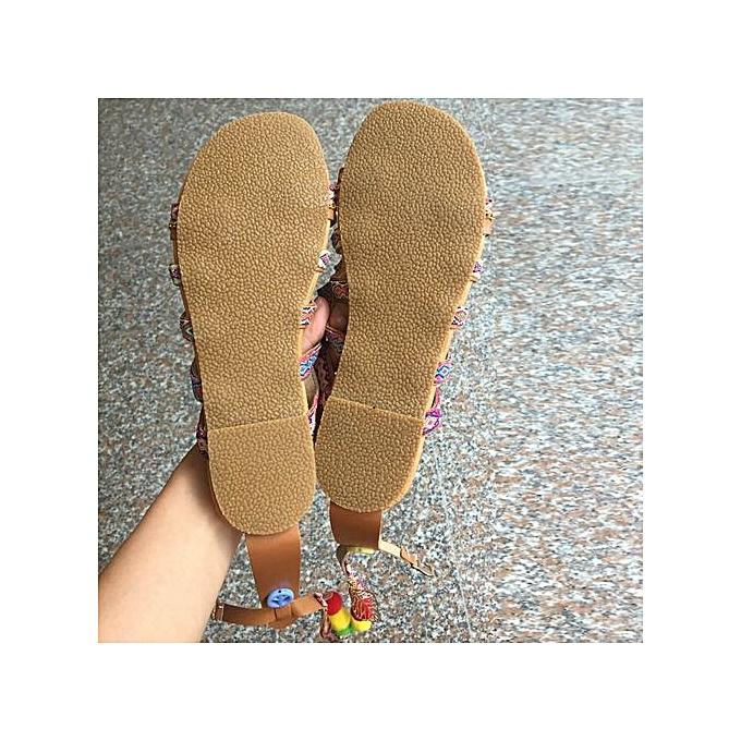 mode Jiahsyc  Store femmes Bohemia Sandals Gladiator cuir Sandals Flats chaussures Pom-Pom Sandals-MultiCouleur à prix pas cher