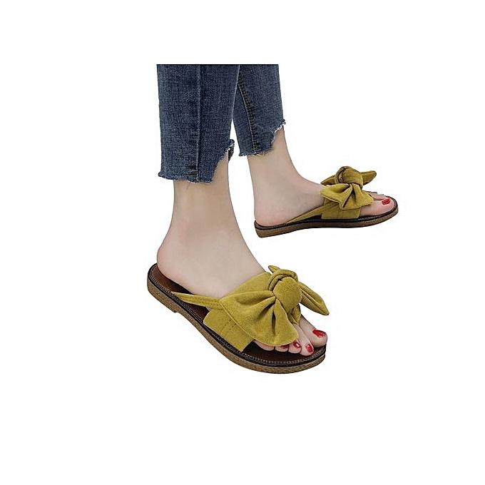 Fashion Blicool Shop femmes Sandals femmes Fashion Solid Couleur Bow Tie Flat Heel Sandals Slipper Beach chaussures-jaune à prix pas cher    Jumia Maroc