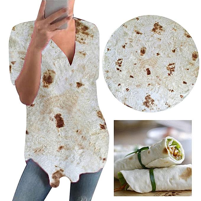 Fashion meibaol store  femmes Mexican Pancakes short Sleeveless Printing Vest Summer V-Neck T-Shirt à prix pas cher