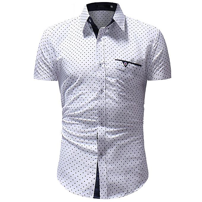 Fashion Men's Printed Point Casual Button Down Short Sleeve Shirt Top Blouse à prix pas cher