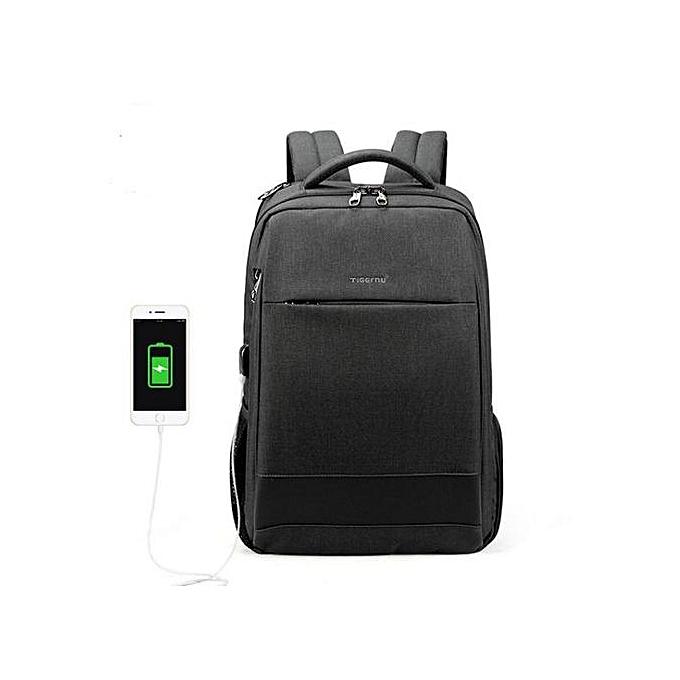 Generic Hommes's mode voyage sac à doss Anti theft USB Charging 15.6 Laptop sac imperméable  gris à prix pas cher