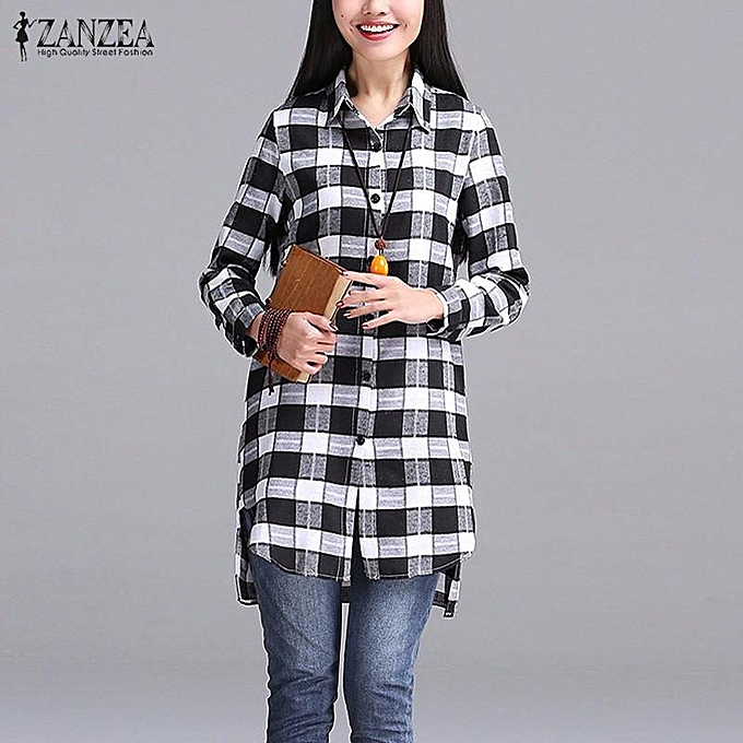 Zanzea ZANZEA femmes Autumn Plaid Shirts Lapel Long Sleeve Asymmetrical Split Blouses Loose Casual bleusas Tops OverTailled S-5XL (noir) à prix pas cher
