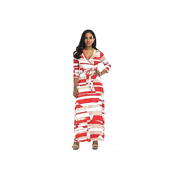 Fashion High Quality Printed Maxi Dress femme V Neck Long Sleeved Dress Evening Dress Elegant Dress-rouge02 à prix pas cher