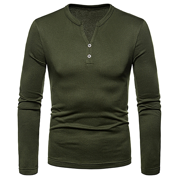 Fashion Men's Autumn Winter Casual Splicing Henry Button Long Sleeve Shirt Top Blouse -Army vert à prix pas cher