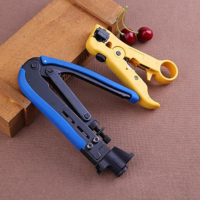 Autre 2pcs Practical Stripper Coaxial Cable Crimping Tool Set For RG6 RG59 RG11 Wire Line Cutter Stripping Pliers Set Crimping Plier à prix pas cher