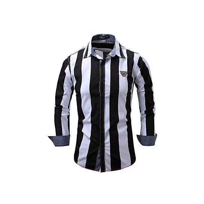 Fashion Men's Shirt Striped Long Sleeve Plaid Shirts Mens Dress Shirt Brand Casual Denim Style Printing Shirts -noir à prix pas cher