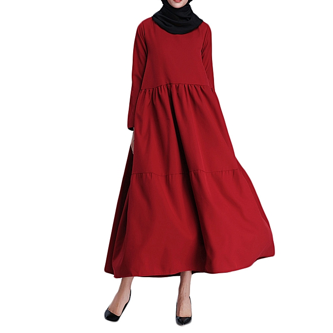Fashion whiskyky store Muslim femmes Islamic Pure Couleur Long Sleeves Plus Taille Middle East Long Dress à prix pas cher