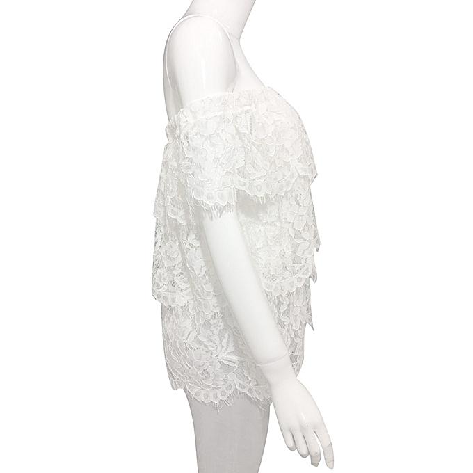 Fashion Meibaol store femmes Short Sleeve Off Shoulder Tops Lace Blouse T Shirt M à prix pas cher