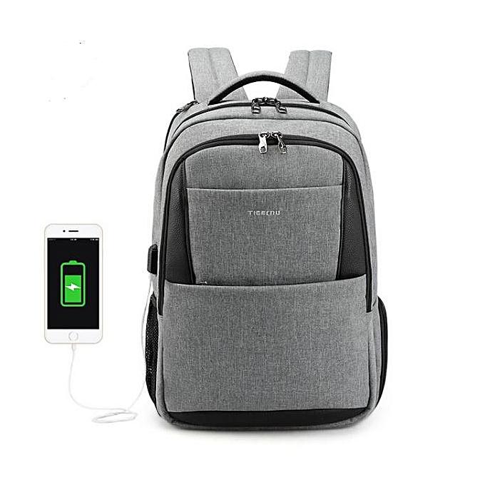 OEM Hot 15.6 laptop sac à dos Hommes usb grand voyage sac à doss slim imperméable anti theft gris à prix pas cher