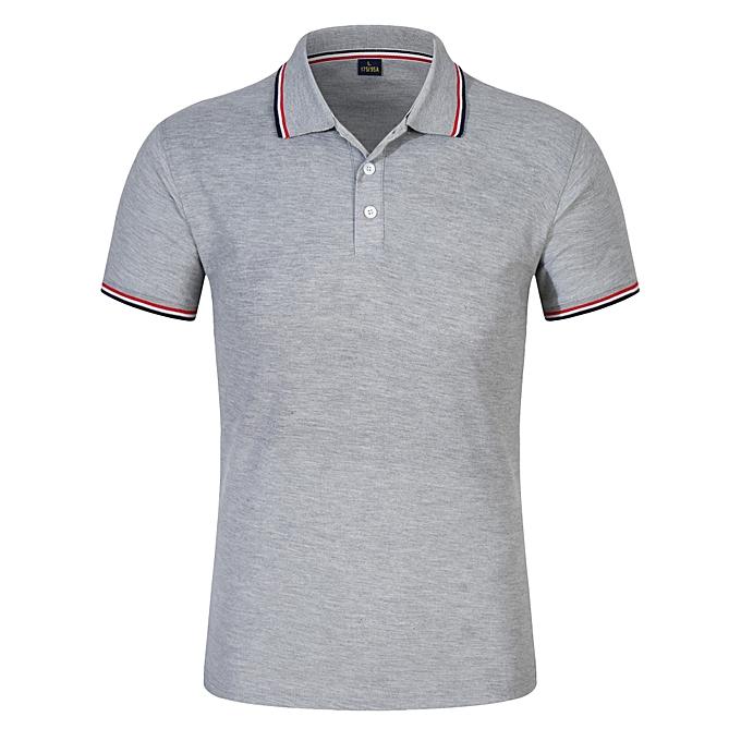 Other Hommes& 039;s mode manche courte Polo Shirt Slim Fit T Shirt Personality Hommes hauts-gris à prix pas cher