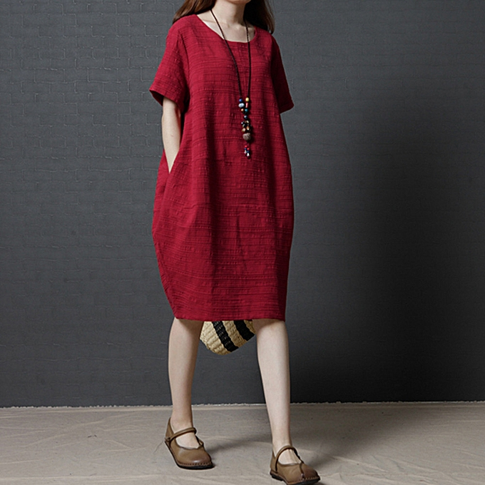 Fashion Wohommes Plus Taille Cotton Casual Dress Solid Loose Short Sleeve Dress à prix pas cher