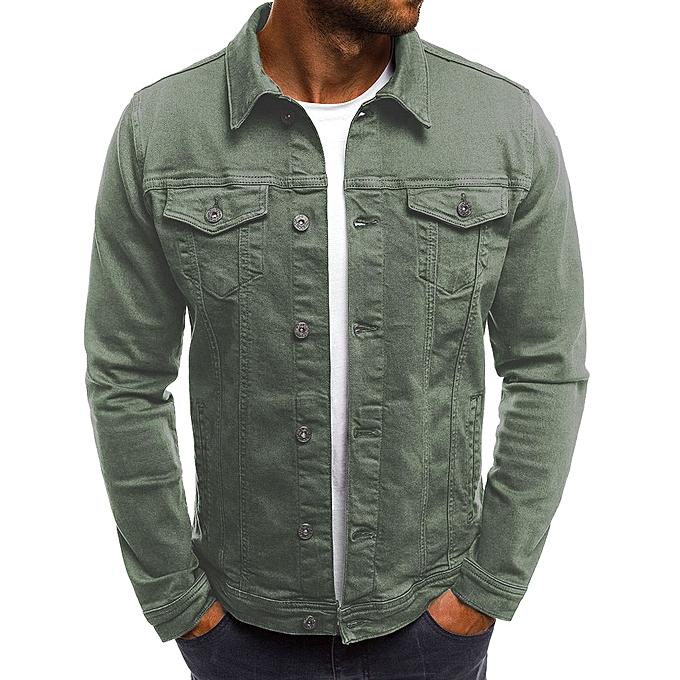 Fashion Men's Autumn Winter Button Solid Couleur Vintage Denim Jacket Tops Blouse Coat -Army vert à prix pas cher