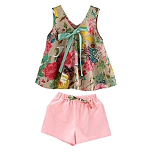 58b1b730a DM Summer Kids Girls Outfits Floral Print Dress With  Shorts-multicolor&120