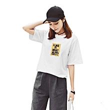 d22a18d5c4db Fashion Letters Printed T-Shirt Short Sleeve Loose Casual Tee Female Shirt