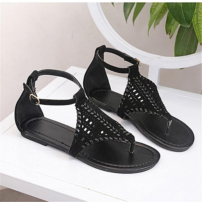 Fashion Wohommes Weave Sandals Casual Flip Flops Slipper Flat à prix pas cher