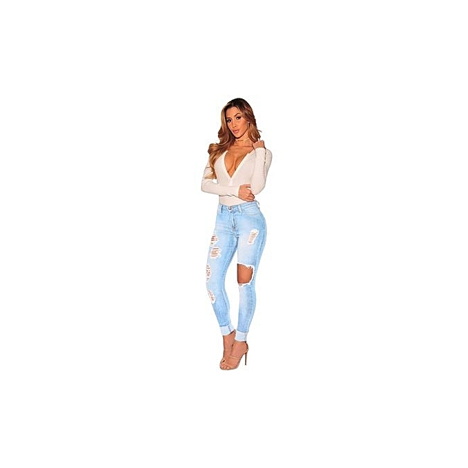 Fashion 2018 Spring New Western Style blanc Hole Shrougeded Slim Feet Jeans à prix pas cher