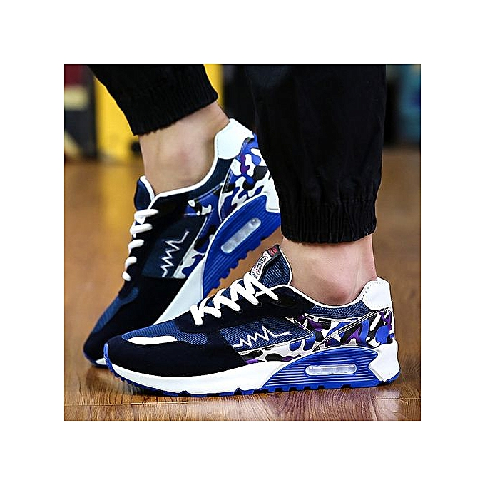 Generic Men's casual chaussures sports chaussures breathable mesh panel chaussures running cushions tide hommes chaussures-bleu à prix pas cher