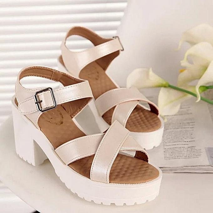 Other New Stylish Summer Korean Leisure Thick heel waterproof platform Sandals-Beige à prix pas cher