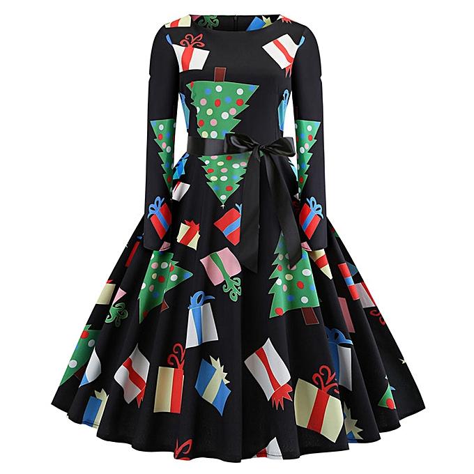 Fashion quanxinhshang Wohommes Vintage Print Long Sleeve Christmas Evening Party Swing Dress à prix pas cher
