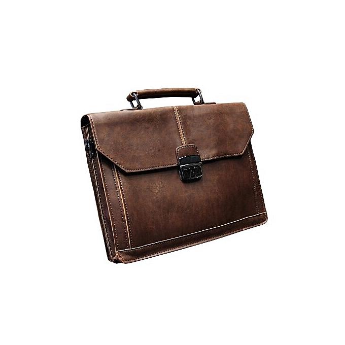 Other Vintage Men's Bag Crazy Horse PU Leather File Briefcase Men Messenger Bags Fashion Portfolio 12  Laptop Handbag(marron) à prix pas cher