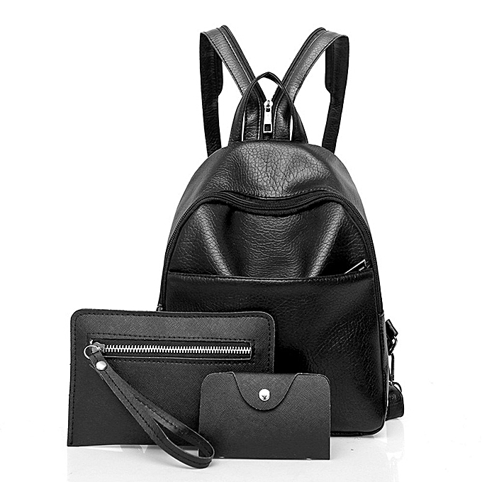 Fashion Masion Fabre 3 Pcs Fashion femmes Three Sets Vintage Dolid Ladies Leather Casual Solf Backpack Solid Shoulder Bags backpack femmes à prix pas cher