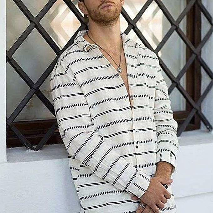 mode jiahsyc store Hommes Décontracté été rayé Print Button manche longue Hawaiian T-Shirt Top chemisiers à prix pas cher