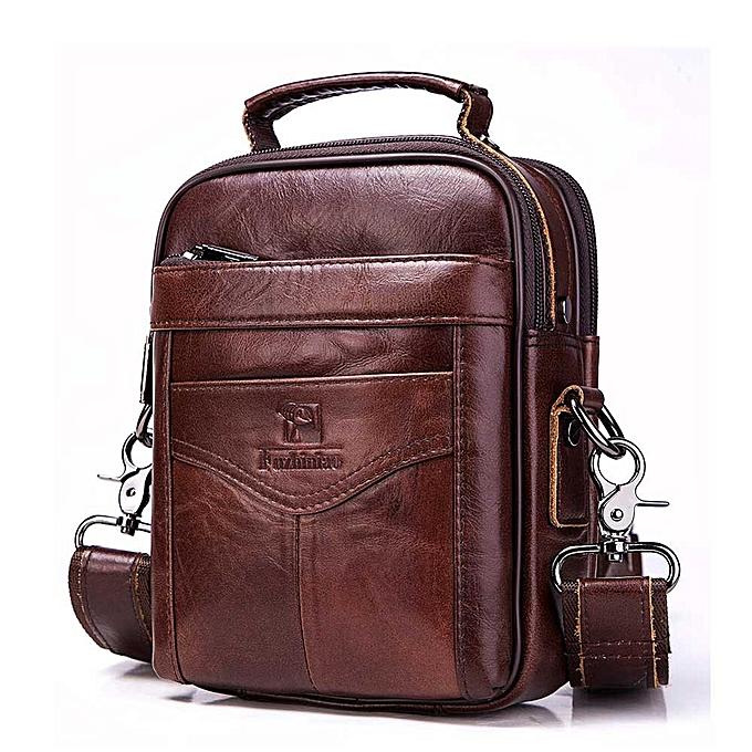 Other FUZHINIAO 100%  Leather Messenger Bag Men Shoulder Clutch Male Bolsas Crossbody Bag Tas Sling Tote Travel for Small Chest(Dark gris) à prix pas cher