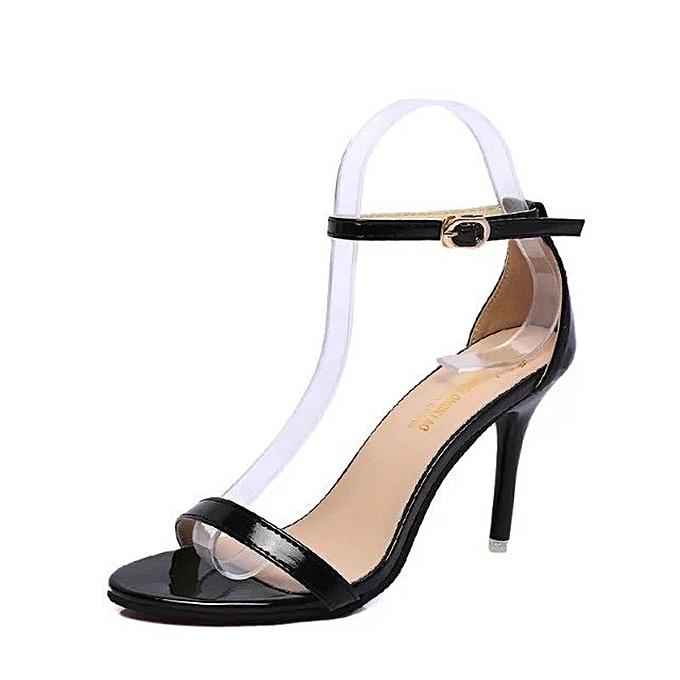 Other Stylish Wohommes  High Heel Roman Sandals Lacquer PU Sandals -noir. à prix pas cher