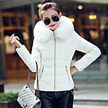 704fb8dd47e Korean Style Women Short Coat Hooded Down Fur Collar Slimming Jacket Coat