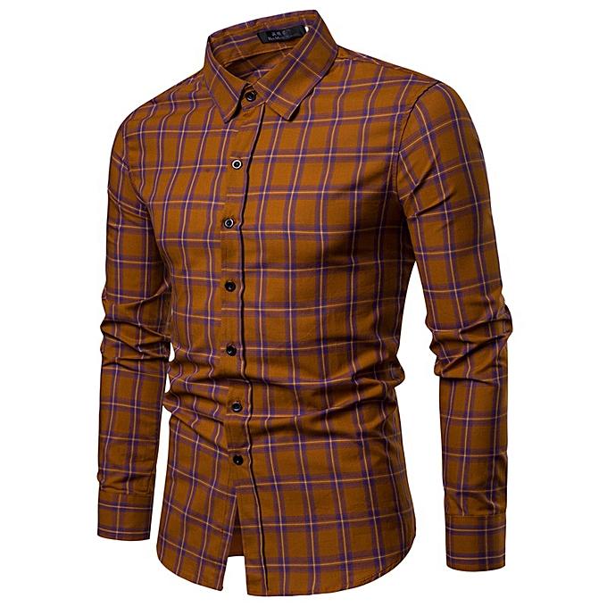 mode Hommes& 039;s Winter And Autumn nouveau Top Hommes& 039;s Décontracté Wear manche longued Shirt -Khaki à prix pas cher