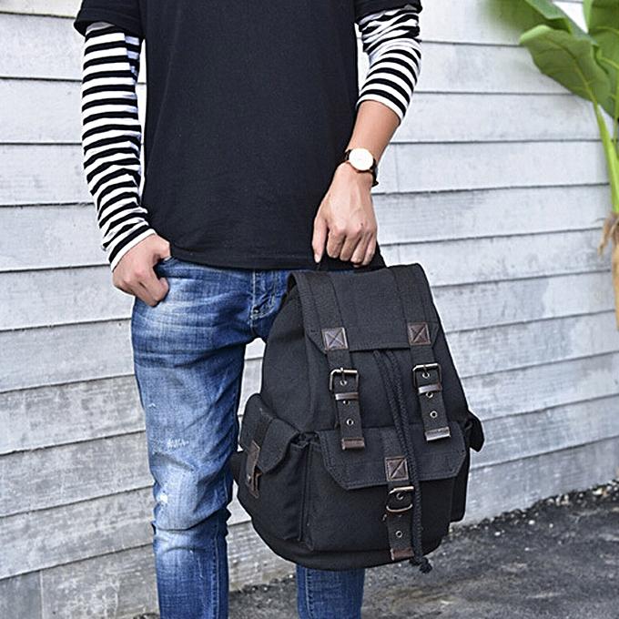 mode Singedan Shop Hommes's Wohommesvoyage toile sac à dos sac à dos  School Satchel Hiking sac noir à prix pas cher