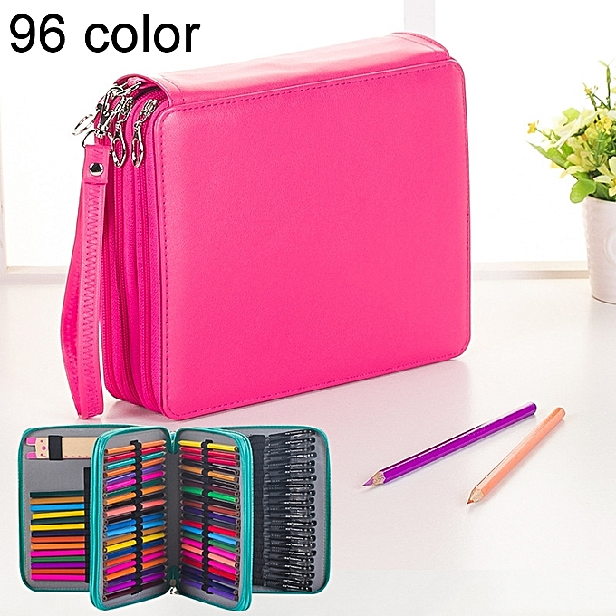 UNIVERSAL 96 Slots Couleurt Pencil Case PU Leather Drawing Sketch WaterCouleur Pencils Holder Organizer with Hand Strap (Magenta) à prix pas cher
