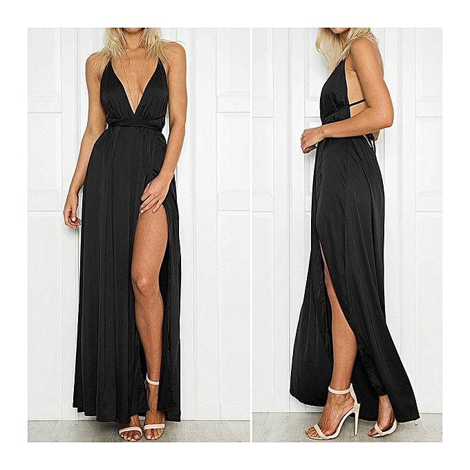 OEM New arrivel Deep V-neck halter beach skirt solid Couleur strap long dress dress-noir à prix pas cher