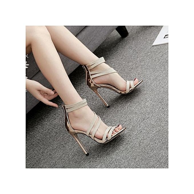 Fashion Bliccol High Heel chaussures Fashion femmes Sandals Summer chaussures Party Wedding Rhinestone Sexy High Sandals -or à prix pas cher