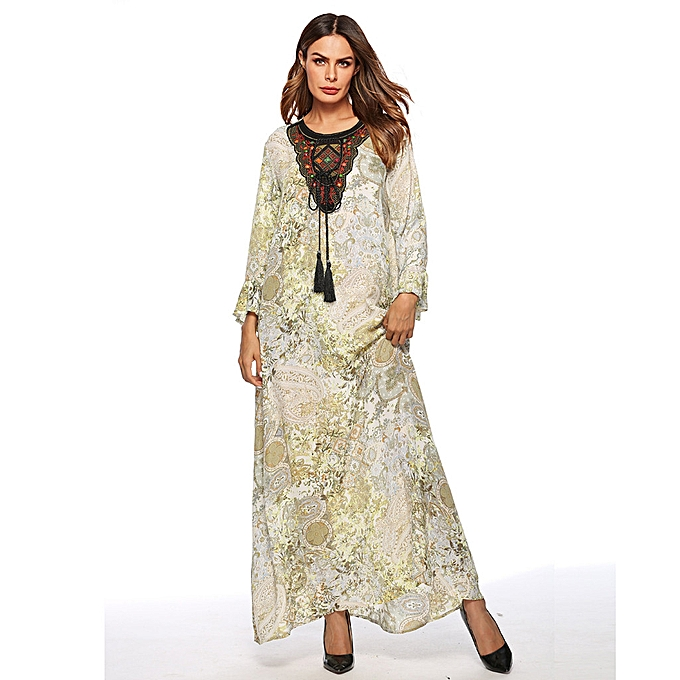 Fashion (Xiuxingzi) femmes Casual Muslim Printing Loose Long Sleeve Arab Dress Islam Jilbab Dress à prix pas cher