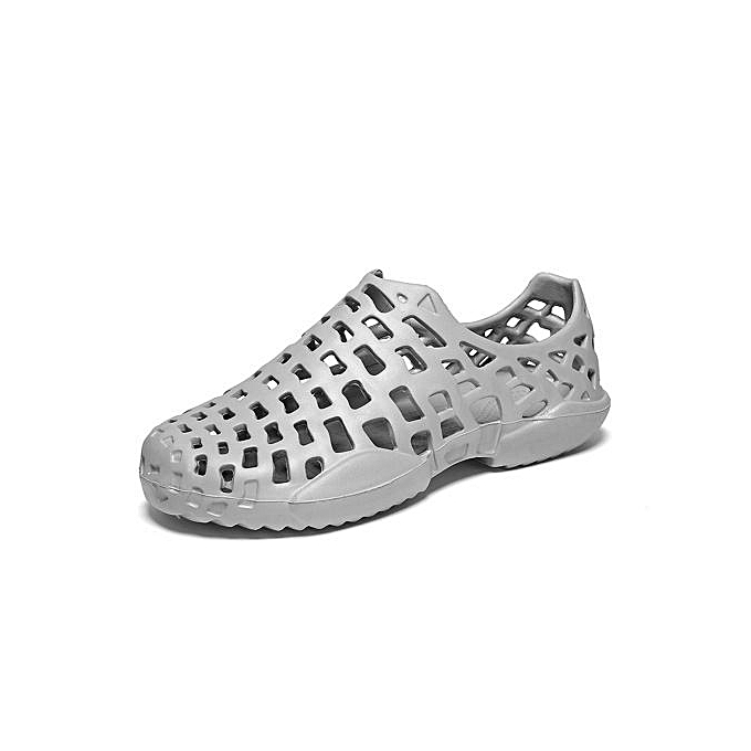Fashion Super Large Taille Men's hole chaussures beach summer causal hollow breathable Couple femmes sandals slippers-gris à prix pas cher